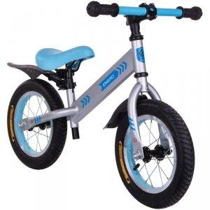 Rowerek biegowy 12 pompowane koła Enero srebrno niebieski