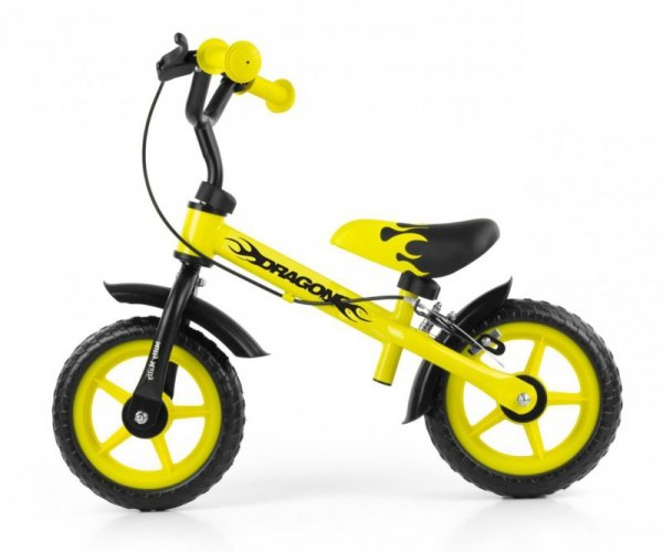 Rowerek biegowy Dragon z hamulcem yellow Milly Mally