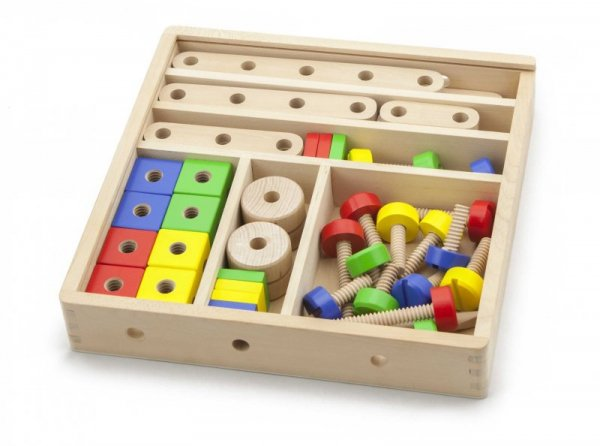 Drewniane klocki konstrukcyjne 53 elementy Viga