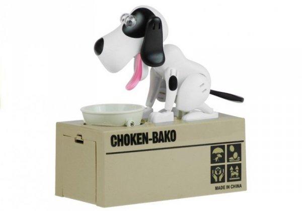 Skarbonka Pies Zjadający Monety Biały w Łatki