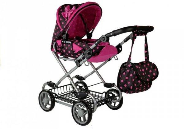 Wózek dla lalek Alice czarno-różowy z Nosidełkiem