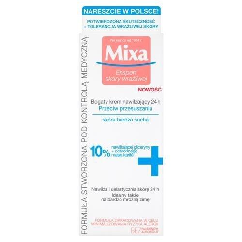 MIXA Ekspert skóry wrażliwej bogaty krem nawilżający 24H przeciw przesuszaniu skora bardzo sucha 50ml