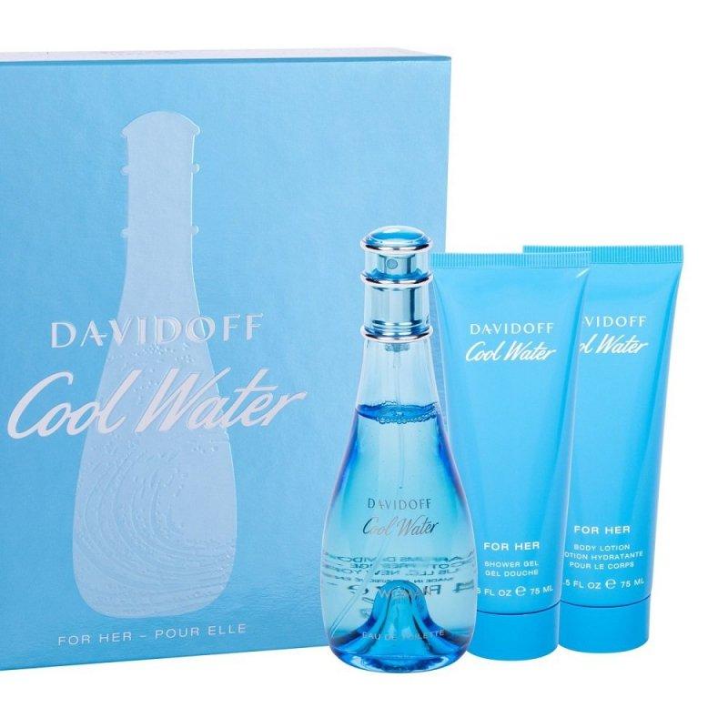 ZESTAW DAVIDOFF Cool Water Woman woda toaletowa dla kobiet 100ml + balsam do ciała 75ml + żel pod prysznic 75ml