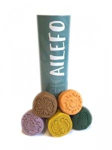 Ailefo, Organiczna Ciastolina, Kolory lasu, mała tuba, 5 kolorów po 100g