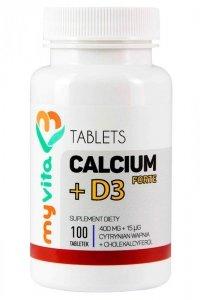 MyVita Calcium +  D3 Forte 100tabl. - Cytrynian wapnia 400mg + D3 15mcg