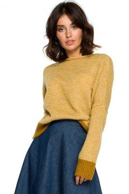 BK015 Sweter o kimonowych rękawach - musztardowy