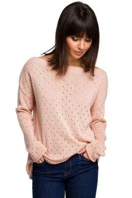 BK019 Sweter z oczkami - brzoskwiniowy