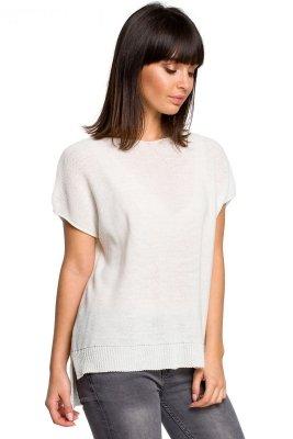 BK021 Bluzka sweterkowa z dekoltem na plecach - ecru