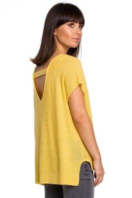 BK021 Bluzka sweterkowa z dekoltem na plecach - żółta