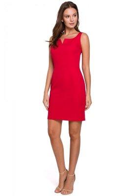 K022 Sukienka mini z dekoltem karo - czerwona