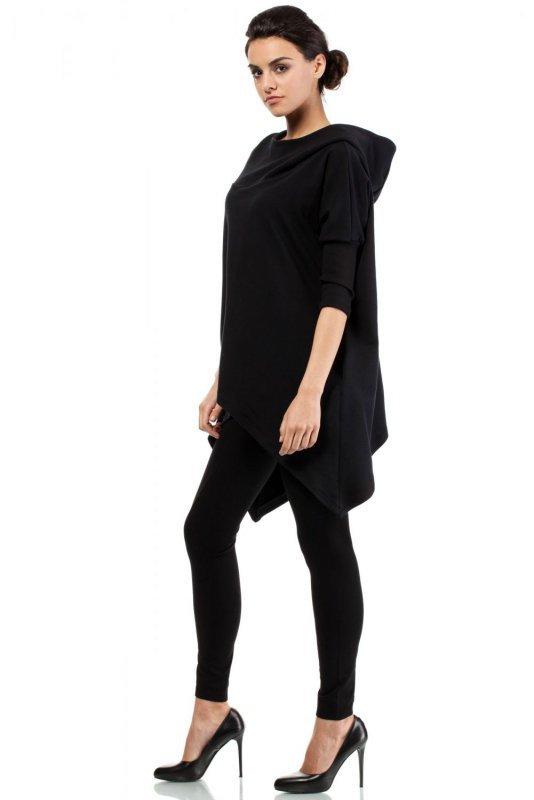 MOE207 Asymetryczna peleryna czarna
