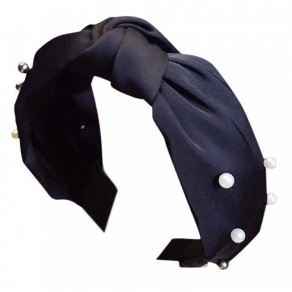 Opaska turban z materiału gruba czerń perełki O227CZ