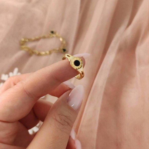 Pierścionek stal chirurgiczna platerowana złotem PST594, Rozmiar pierścionków: US9 EU20
