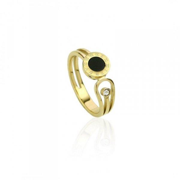 Pierścionek stal chirurgiczna platerowana złotem PST593, Rozmiar pierścionków: US8 EU17