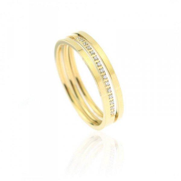 Pierścionek stal chirurgiczna platerowana złotem PST622, Rozmiar pierścionków: US9 EU20