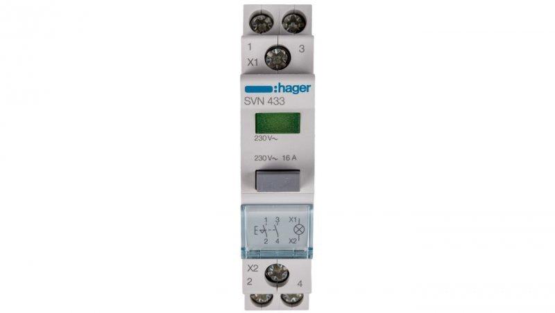 Przełącznik przyciskowy z lampką zieloną 16A 2Z SVN433