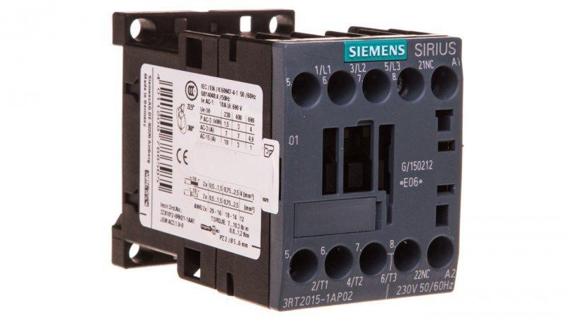Stycznik mocy 7A 3P 230V AC 0Z 1R S00 3RT2015-1AP02