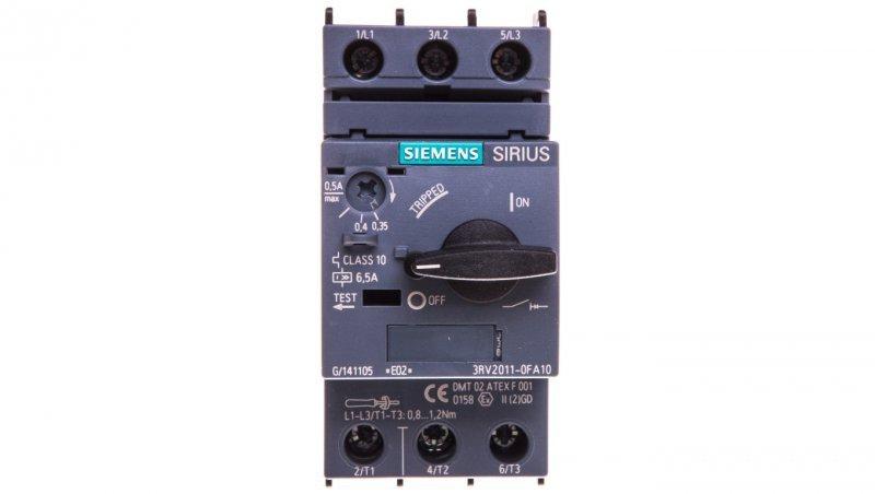 Wyłącznik silnikowy 3P 0,12kW 0,35-0,5A S00 3RV2011-0FA10