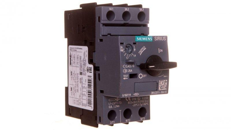 Wyłącznik silnikowy 3P 0,75kW 1,4-2A S00 3RV2011-1BA10