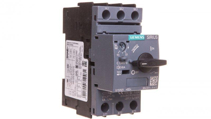 Wyłącznik silnikowy 3P 1,5kW 3,5-5A S00 3RV2011-1FA10
