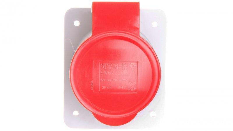 Gniazdo stałe 4P 32A 400V czerwone IP44 10° 6H IEC 309 HP GW62220H