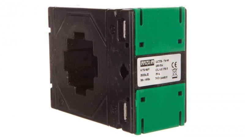 Przekładnik prądowy z otworem na szynę 74/40 (45) 250A/5A klasa 0,5     LCTB 7440450250A55