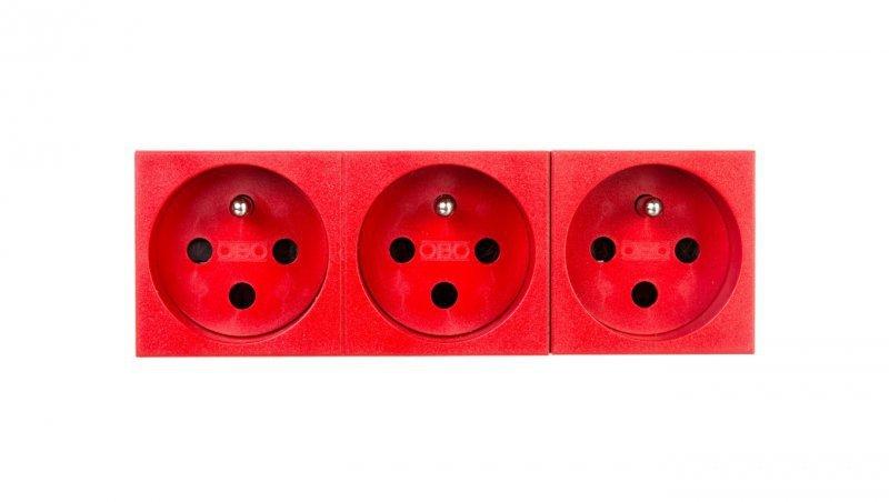 Gniazdo zasilające M45 potrójne z/u 16A czerwone STD-F0K SRO3 6120316