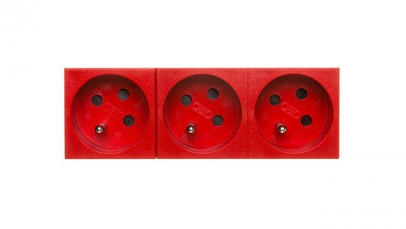 Gniazdo zasilające M45 potrójne z/u 16A czerwone STD-F3K SRO3 6120326