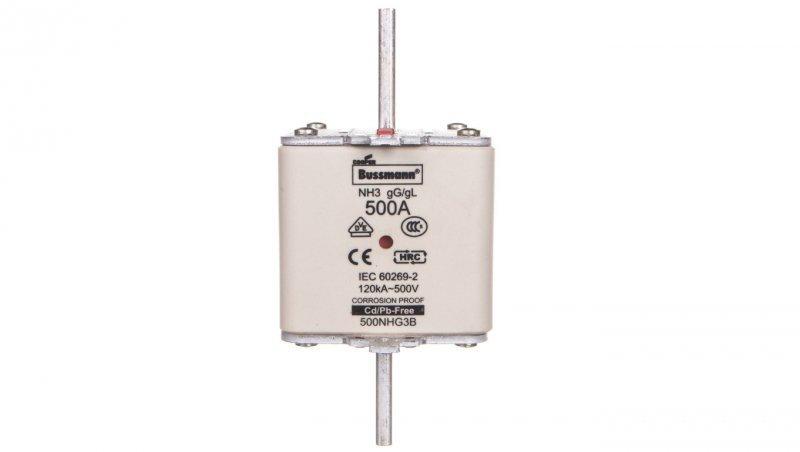 Wkładka bezpiecznikowa NH3 500A gL/gG 500V 500NHG3B
