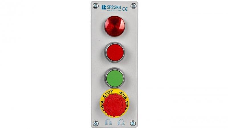 Kaseta kompletna 4-otworowa z nap. LC,KC,KZ,B I 1 przepust M20 24V SP22K404-1