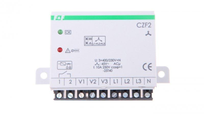 Przekaźnik zaniku i asymetrii faz z kontrolą styków stycznika 10A 1Z 4sek 45V CZF-2