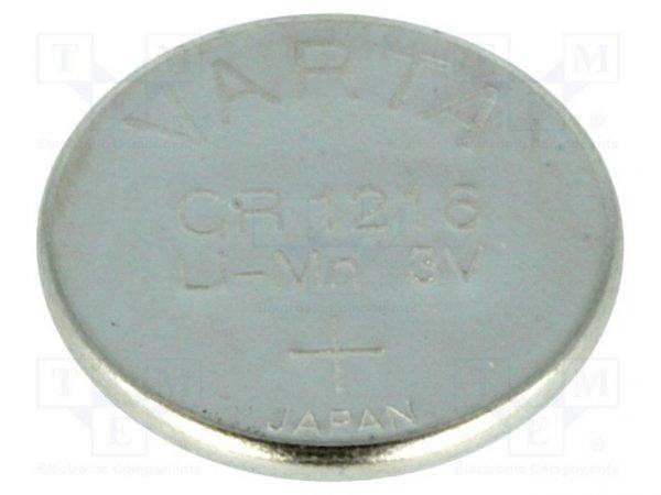 Bateria: litowa; 3V; CR1216,pastylkowa; Ø12x1,6mm; 25mAh