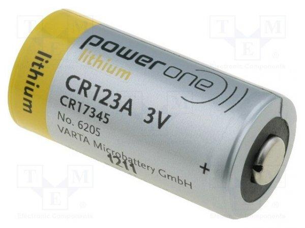 Bateria: litowa; 3V; CR123A,CR17345; Power One; Ø17x34,2mm