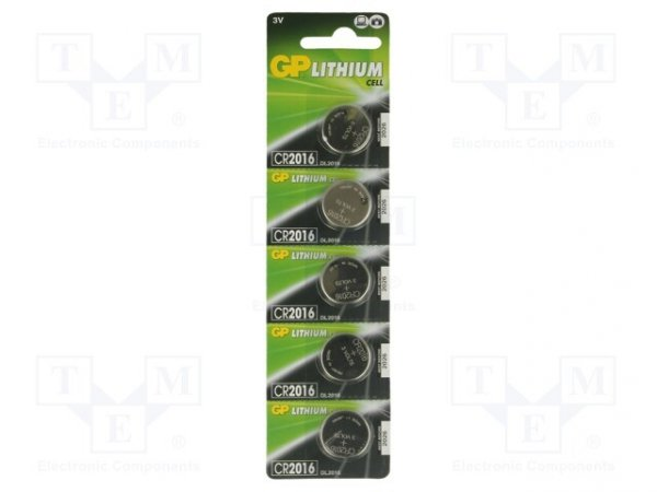 Bateria: litowa; 3V; CR2016,pastylkowa; Il.bat: 5; Ø20x1,6mm; 90mAh
