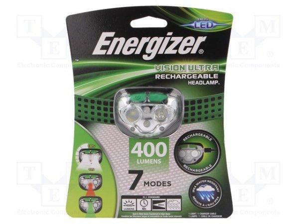 Latarka: czołowa LED; wodoodporna; 4h; 400lm; Kolor: zielony