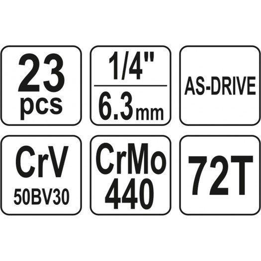 ZESTAW NARZĘDZIOWY 23 CZĘŚCI 1/4''''