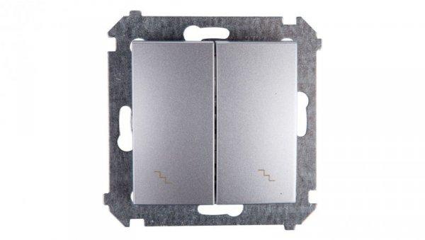Simon 54 Łącznik schodowy podwójny z podświetleniem srebrny mat DW6/2L.01/43