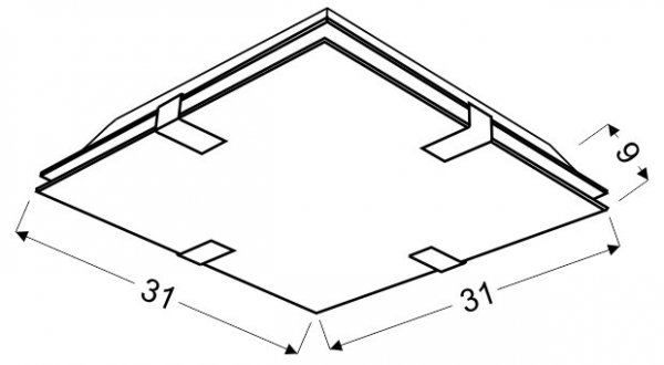 FIERA PLAFON 31X31 2X60W E27 KWADRAT
