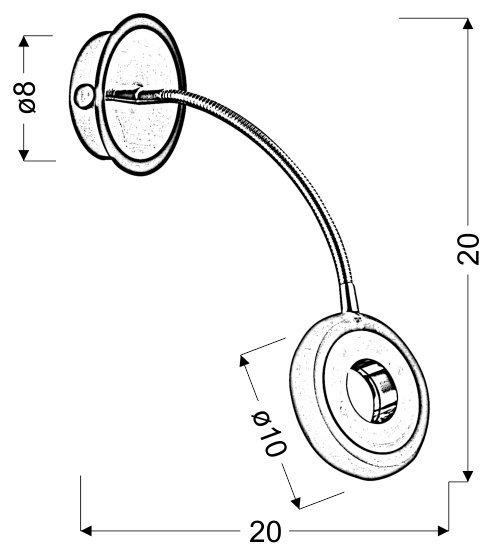 ARM KINKIET 1X5W LED CZARNY/CHROM