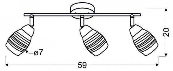MILTON LISTWA 3X10W E14 LED CHROM