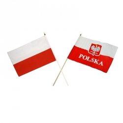 Flaga POLSKA  30x40 cm z uchwytem drewnianym mix 30x40