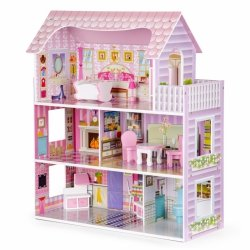 Drewniany domek dla lalek 9 mebelków + LED ECOTOYS