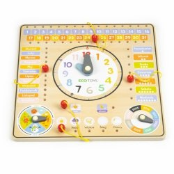 Drewniana tablica manipulacyjna kalendarz zegar