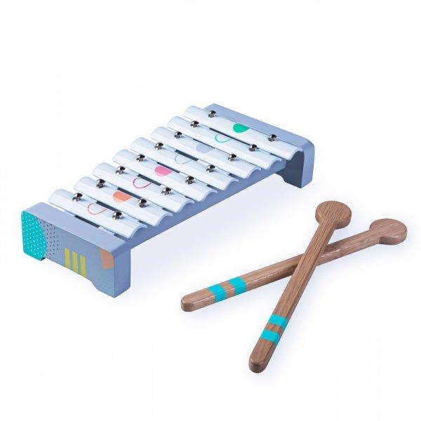 Drewniane instrumenty dla dzieci flet cymbałki ECOTOYS