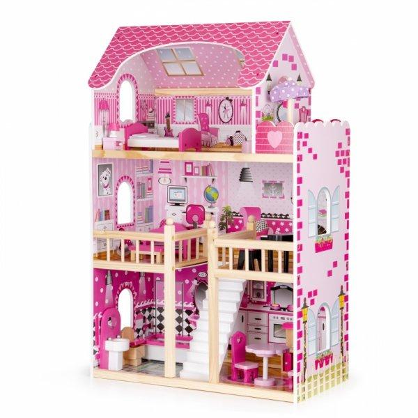 Drewniany domek dla lalek mebelki led ECOTOYS