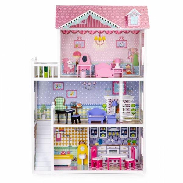 Drewniany domek dla lalek XXL z mebelkami ECOTOYS