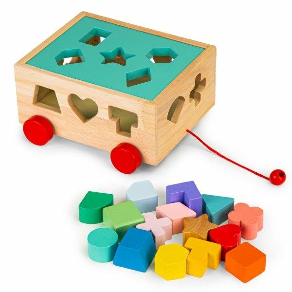 Drewniany wózek sorter z klockami - kostka edukacyjna dla dzieci