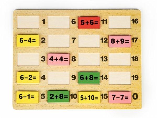 Klocki matematyczne z tablicą domino edukacyjne