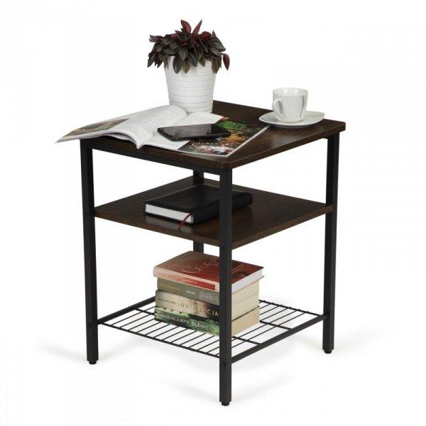 Stolik kawowy 2 półki nowoczesny do salonu loft