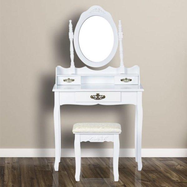 Toaletka kosmetyczna z lustrem i taboretem 3 szuflady